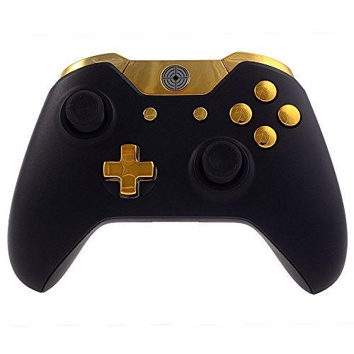 XFUNY Full Buttons Set for Xbox One, Chrome ABXY D-pad Triggers Complete Buttons Set Kits Replacement Controller Mod for Microsoft Xbox One Controller - Golden