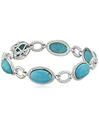 Sterling Silver Oval Genuine Stabilized Turquoise Link Bracelet, 7""