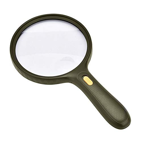 Handheld Reading Optical 10X Magnifying Glass with 3 LED Lights 138MM Large Lens Magnifier
