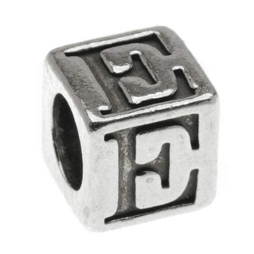 1 pc Sterling Silver Alphabet Cube Bead Letter 'E' 5.5mm x 5.4mm, 3.7mm Hole