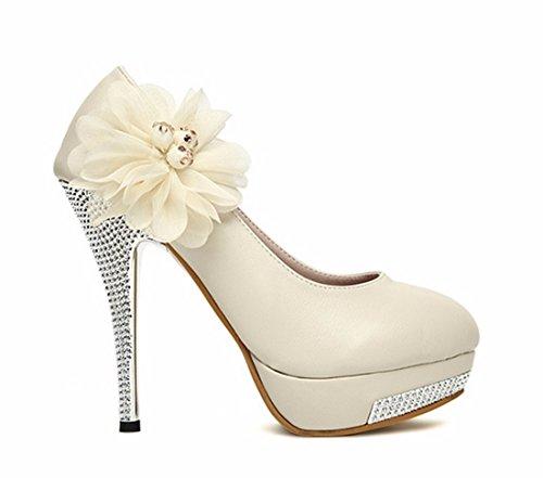 Women Floral Crystal Waterproof High Stiletto Heel Twinkling Wedding Shoe apricot 0eXY4HXT