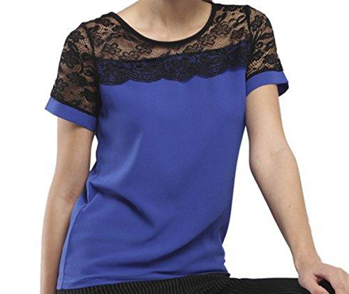 Manica Shirt Cucitura Pizzo Collo Corta Tumblr Casual Tees Donna Maglietta Bluse Blu Top Sottile T Rotondo Camicie xvORqB
