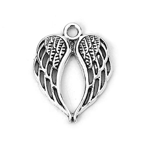 Angel Wings Charms by JGFinds, 48 Pack, Antique Silver Tone 7/8 -