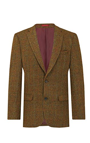 Harris Tweed Mens Rust Windowpane Check Tweed Jacket Regular Fit 100% Wool Notch Lapel-42S - Mans Harris Tweed