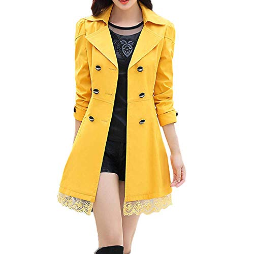 - WOCACHI Women Coats Ladies Double Breasted Pea Coat Elegant Winter Lapel Wool Coat Trench Jacket Overcoat Outwear Yellow