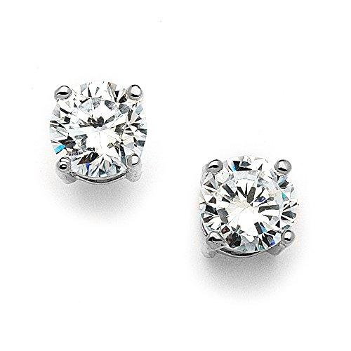 Mariell 2 Carat Round-Cut CZ Stud Earrings - 8mm Solitaire Cubic Zirconia Studs - Genuine Platinum - Ring Platinum Cubic Zirconium