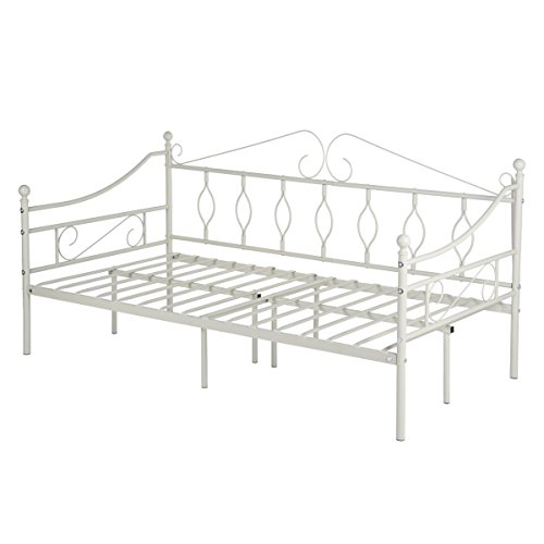 GreenForest Daybed Metal Bed Frame Twin Size Steel Slat Support Box Spring Replacement Mattress Foundation with Strong Legs and Headboard Daybed Frame, Light ()