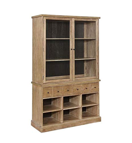 - Bishop Glass Door China Cabinet Drifted Pine and Dark Coffee