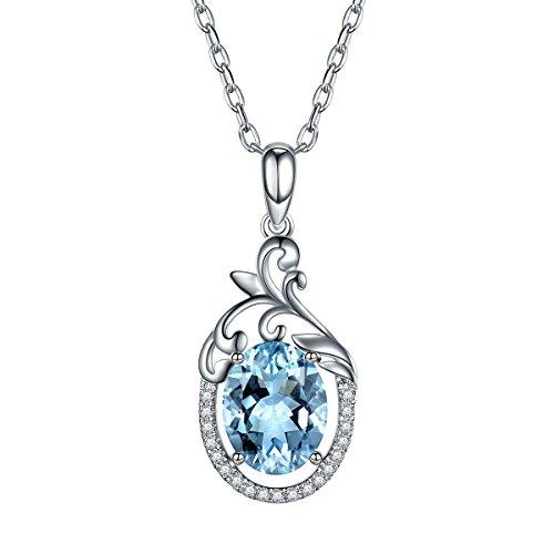 Hutang solide Métal Or blanc 18ct CT Pierre précieuse naturelle aigue-marine et diamants Pendentif et collier pour femme fine Diamond-jewelry