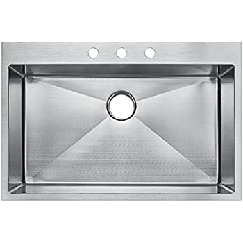starstar 30 x 22 top mount single bowl kitchen sink drop in 304 stainless starstar 30 x 22 top mount single bowl kitchen sink drop in 304      rh   amazon com