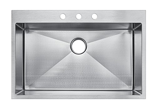 Starstar 33 X 22 Top-mount Single Bowl Kitchen Sink Drop-in 304 Stainless Steel 16 Gauge ()