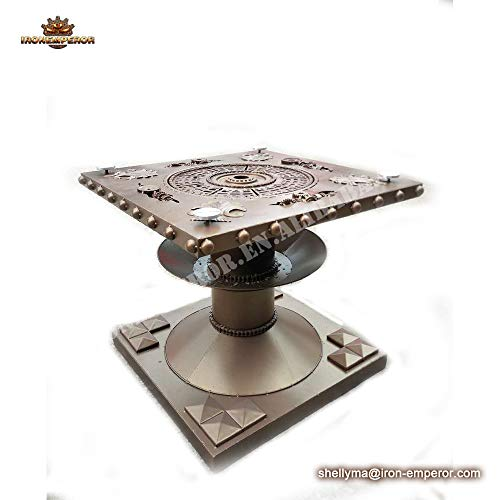 Ironemperor Wholesale Industrial Metal Top Grey Washed Square Pedestal Extending Dining Table