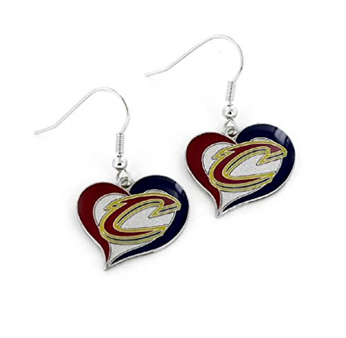 Cleveland Cavaliers NBA Swirl Heart Dangle Earring Set Charm Gift