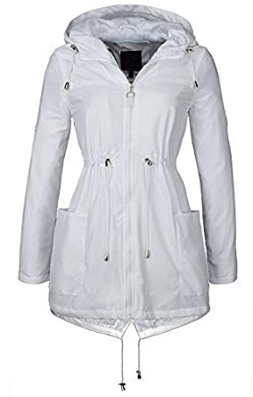 NEW LADIES LIGHTWEIGHT MESH RAIN MAC HOODED PARKA JACKET SHOWER ...