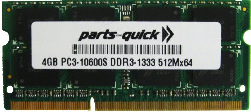 4GB Memory for Toshiba Satellite T230-11U DDR3 PC3-10600 1333MHz SODIMM RAM (PARTS-QUICK BRAND)
