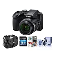 Nikon Coolpix B500 Digital Point & Shoot Camera, Black - Bundle With Camera Bag, 16GB Class 10 SDHC Card, Cleaning Kit, Software Package by Nikon