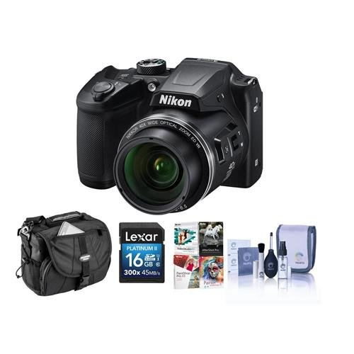 Nikon Coolpix B500 Digital Point & Shoot Camera, Black – Bundle with Camera Bag, 16GB Class 10 SDHC Card, Cleaning Kit, Software Package
