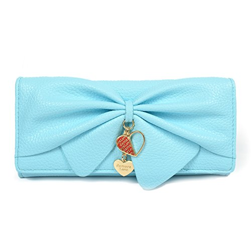 Damara Women Long Faux Leather Bifold Large Bow Design Wallet Handbag (Light blue)