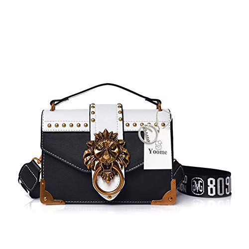 - Yoome Women Designer Rivet Shoulder Bag Ladies Top Handle Clutches Handbags Lion Head Ring Purse - Black