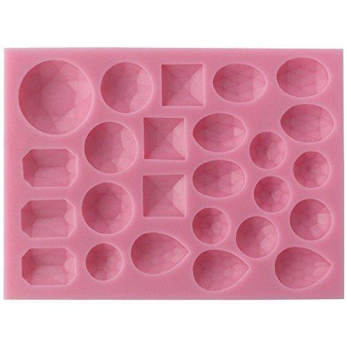 musykrafties 25 Small Diamond GEMS formas variadas Fondant Molde de silicona para Polímero Arcilla, Resina, decoración de tartas, MANUALIDADES proyectos