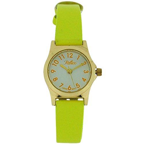 Reflex Girls-Ladies White Dial Gold Tone Bright Yellow Strap Watch 101328LT