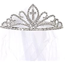 OLIVIA KOO Girls Cross First Communion Veil Tiara Crown