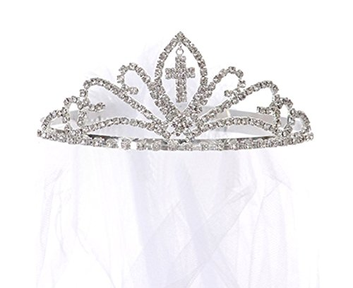 OLIVIA KOO Girls Cross First Communion Veil Tiara Crown]()
