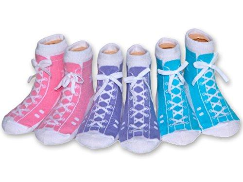 MumMe Baby Girls Pastel High Tops Sock Set in Organic Cotton (3 pairs) - 0-12mths