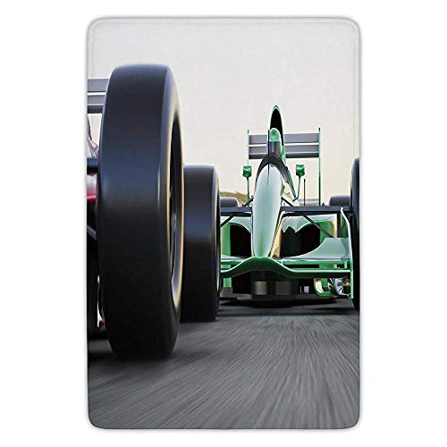 Bathroom Bath Rug Kitchen Floor Mat Carpet,Cars,Motorized Sports Theme Indy Cars on Asphalt Road with Motion Blur Formula Race,Grey Black Green,Flannel Microfiber Non-Slip Soft Absorbent