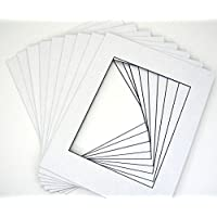 Mat Board Center, Pack of 25 11x14 White Picture Mats with Black Core Bevel Cut for 8x10 Photos