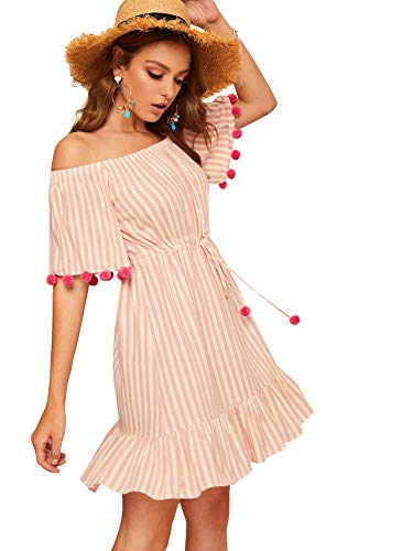 Floerns Women's Striped Off Shoulder Drawstring Waist Pom Pom Tunic Dress Pink S