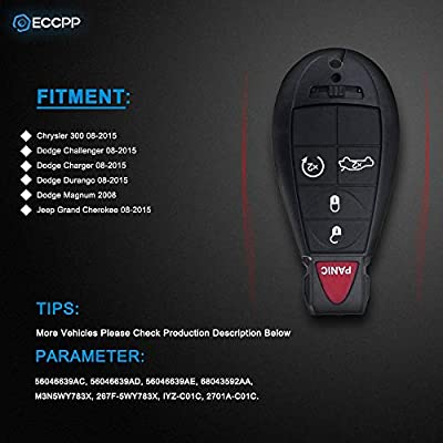 ECCPP Replacement fit for 2X 5 Button Keyless Entry Remote Key Fob Jeep Dodge Chrysler Series M3N5WY783X IYZ-C01C: Automotive
