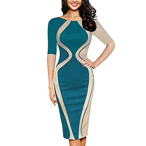 Peanutcool Fashion Womens Sexy Bodycon Short Sleeve Party Business Style Pencil Mini Dress (L, Green)