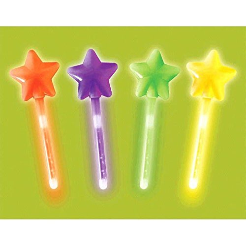 Family Friendly Halloween Trick or Treat Glow Star Wands Party Favour, Plastic, 6