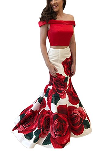 Women's Two Piece Off Shoulder Mermaid Prom Evening Dresses Long Floral Print Formal Gown Red Size 4