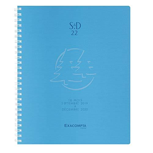 Exacompta Linicolor Weekly 224472e Sad 22W with Spiral Diary September to December 2018201918.5x 22.5cm Transparent Polypropylene Cover Blue Fresh