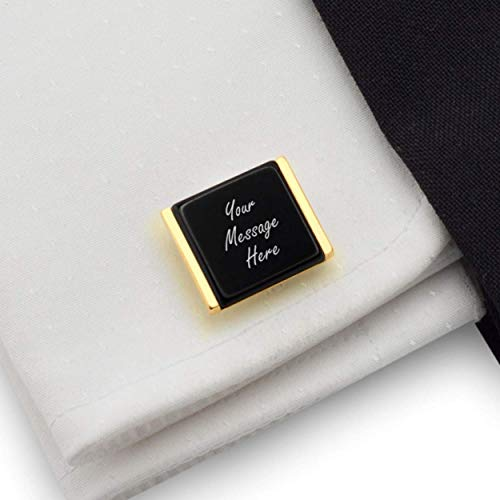Mens personalized cufflinks - Gold cufflinks for men - 925 Silver 14K gold plated Onyx stone | FREE Gift Messaged, Box | Handmade