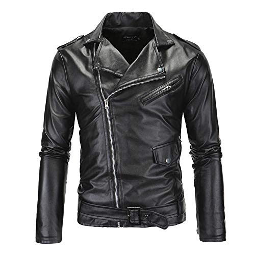 New Mens Causal Belted Design Slim Pu Leather Biker Zipper Jacket Coat (US L=XL)