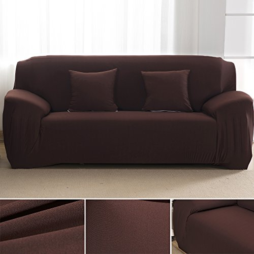 Fannybuy Sofa Cover 4 Seater Polyester Spandex Fabric Slipcover for Chair Loveseat Sofa Protector CHOCOLATE (Leather Sofa With Fabric Seat Cushions)