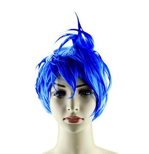 Disney Characters Out Of Costume (Glameow Inside Out Adjustable Short Cosplay Wig Blue Green Hair Halloween Party Costume)