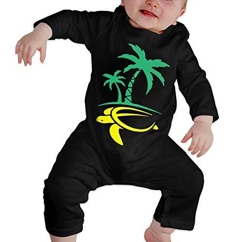 Newborn Kids Long Sleeve Jumpsuit Hawaiian Palm Tree and Sea Turtle Infant Long Sleeve Romper Jumpsuit