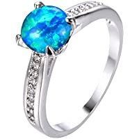 Classic Round Cut Blue Fire Opal Ring White Gold Wedding Band Jewelry (8)
