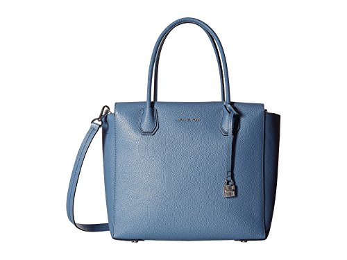 Michael Kors light blue purse | Michael Kors Studio Mercer Large Leather Satchel (Denim)