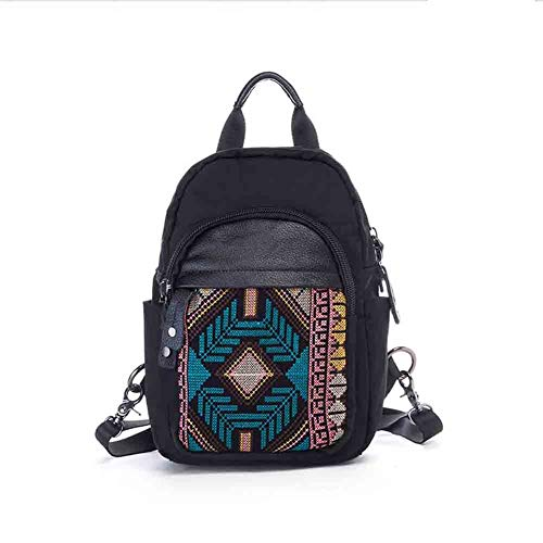 Sunny Women's Personality Backpack Embroidery Ethnic Casual Waterproof Oxford Cloth Chest Bag School Bag Travel Shoulder Bag 3 Layer Design, 34 21 12 Cm (Color : B) ()