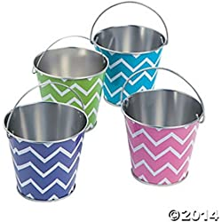 Fun Express Mini Metal Chevron Pails - 12 Pieces