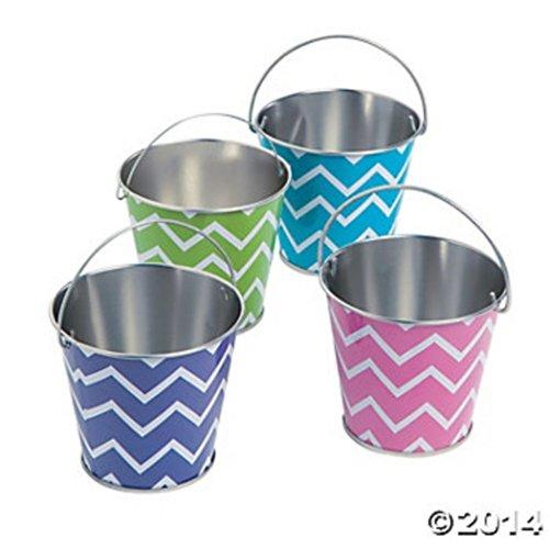 Mini Buckets Galvanized (Fun Express Mini Metal Chevron Pails - 12 Pieces)