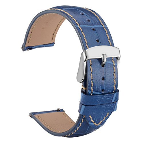 WOCCI 22mm Watch Band Quick Release - Alligator Embossed Leather Watch Strap Blue Black with Silver Buckle (Rolex Leather Strap Watch)