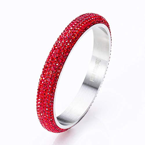 RIVERTREE Stainless Steel Crystal bangle bracelet For Women - Red 209mm SIZE 8 - Paved with Crystal from Swarovski Elements - Ideal for Bridal Wedding, Prom, Party