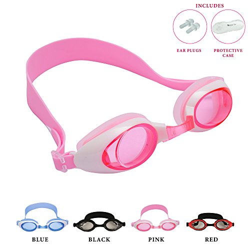 Kids Swimming Goggles by Bezzee Pro, Anti Fog, Leak Proof Eye Cups, Adjustable Straps, Children Swim Glasses(ages 4 to 10), With Quality Goggle Case & Ear Plugs, 100% (Pink)
