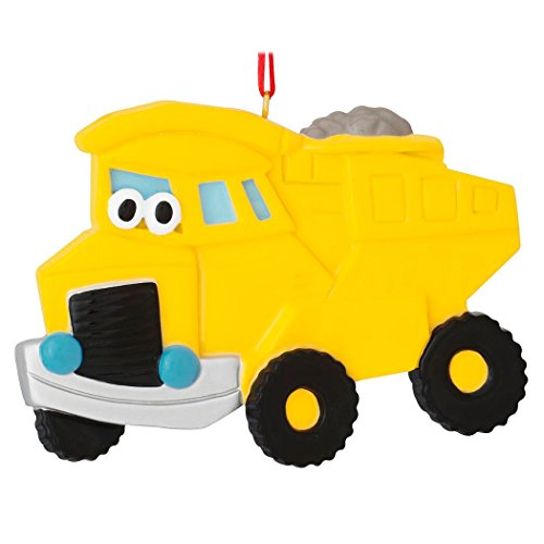 Personalized Dump Truck Toy Christmas Tree Ornament 2019 - Yellow Mighty Lift Machine Eyes Construction Boy Toddler Holiday Cars Decoration Year - Free Customization